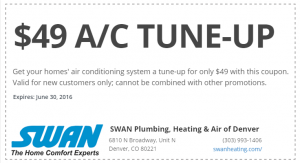 Coupon for a 49 Dollar Air Conditioning Tune Up